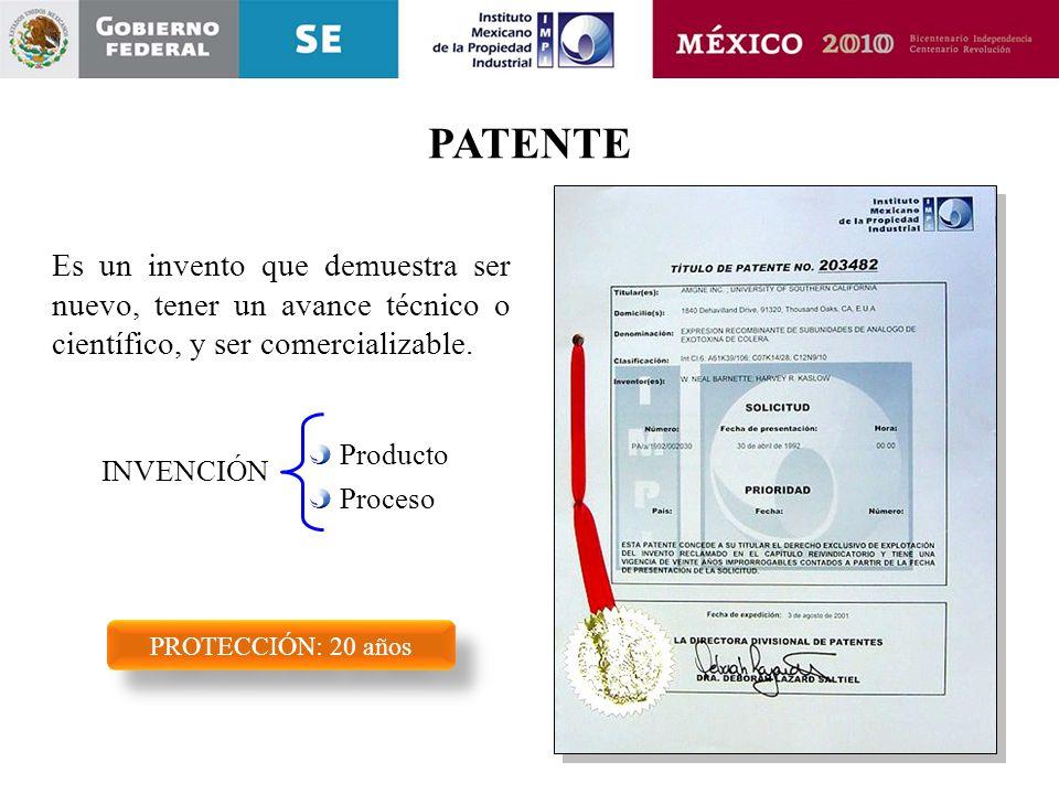 PATENTE Es un invento que demuestra ser nuevo, tener un avance técnico o científico, y ser comercializable.