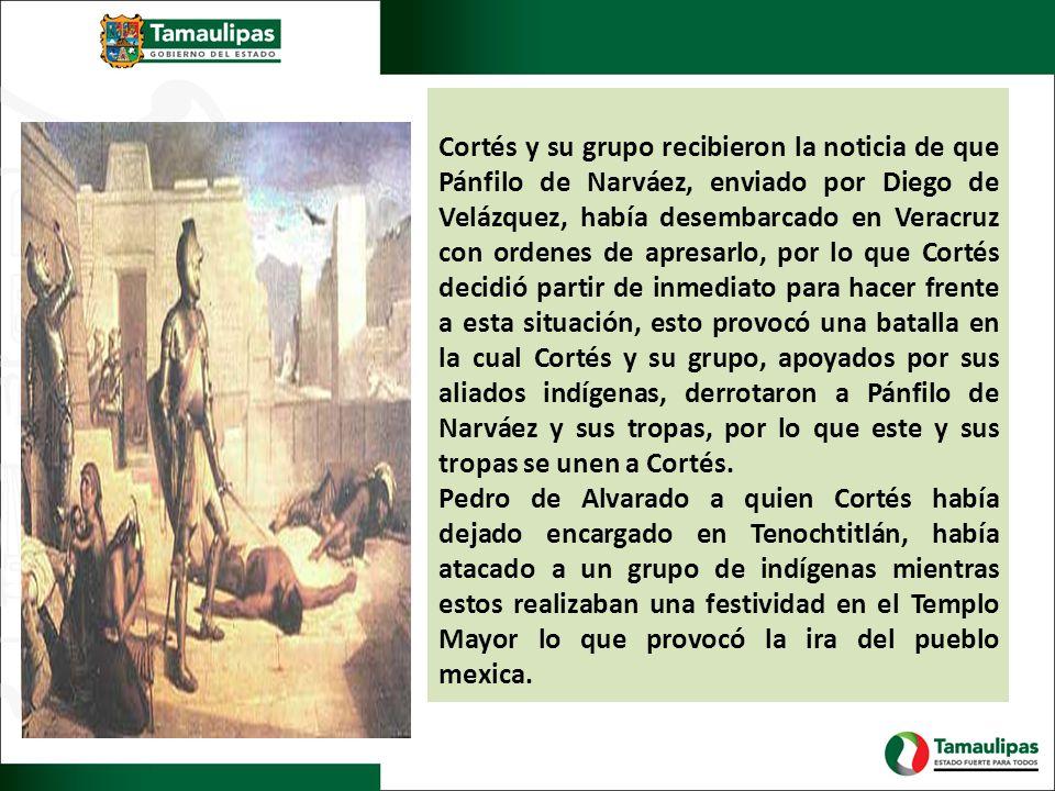Cortés y su grupo recibieron la noticia de que Pánfilo de Narváez, enviado por Diego de Velázquez, había desembarcado en Veracruz con ordenes de apresarlo, por lo que Cortés decidió partir de inmediato para hacer frente a esta situación, esto provocó una batalla en la cual Cortés y su grupo, apoyados por sus aliados indígenas, derrotaron a Pánfilo de Narváez y sus tropas, por lo que este y sus tropas se unen a Cortés.