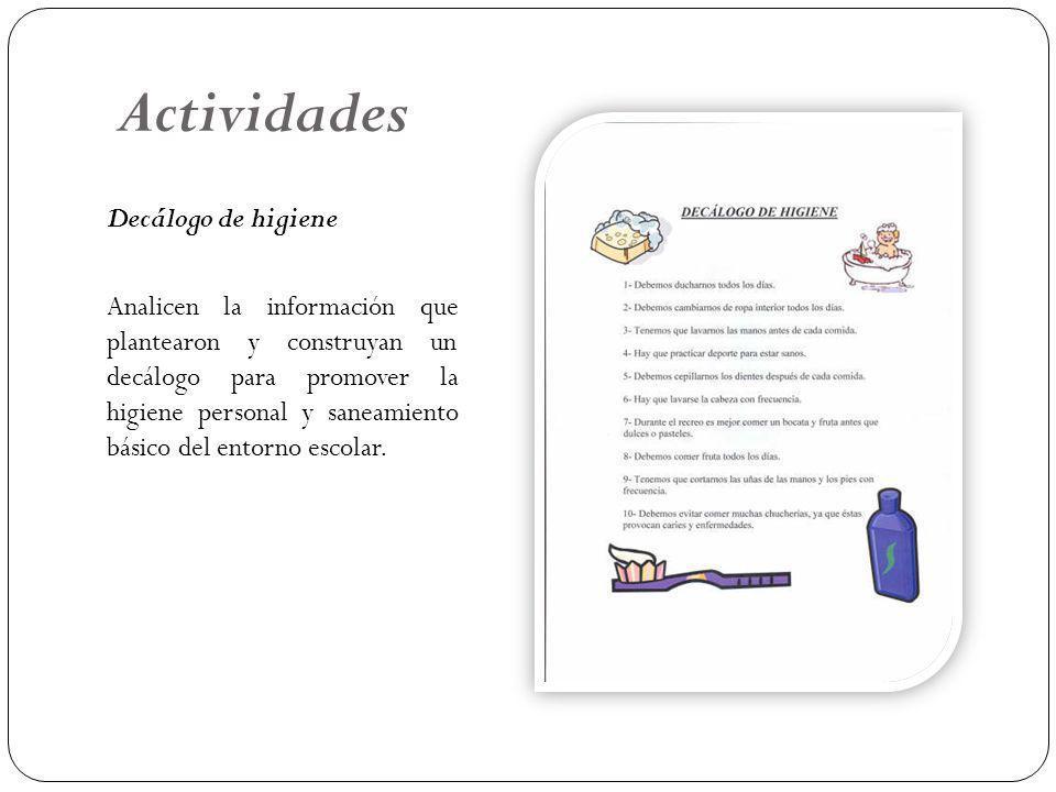 Actividades Decálogo de higiene