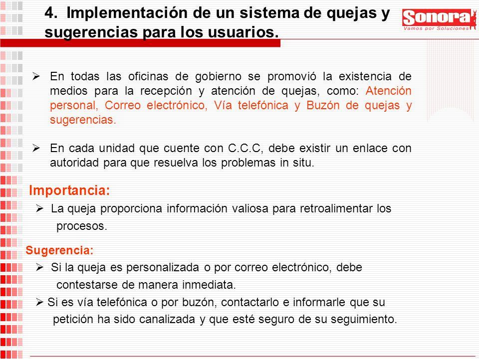 4. Implementación de un sistema de quejas y sugerencias para los usuarios.