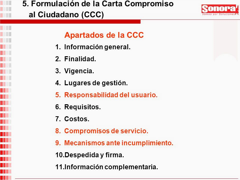 5. Formulación de la Carta Compromiso al Ciudadano (CCC)