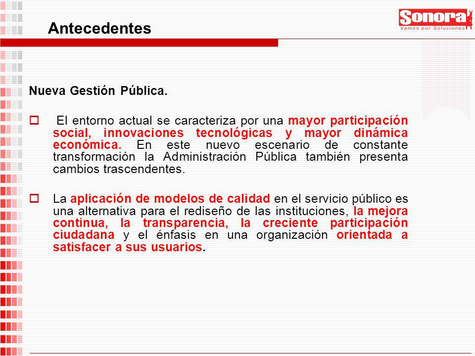 Antecedentes Nueva Gestión Pública.