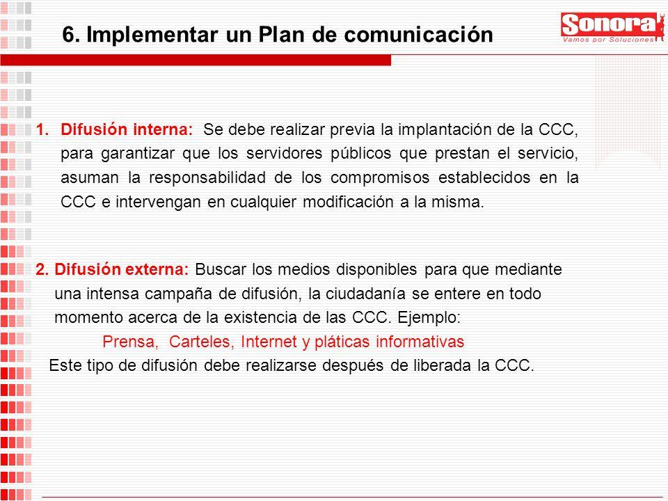 6. Implementar un Plan de comunicación