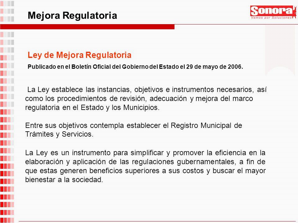Mejora Regulatoria Ley de Mejora Regulatoria