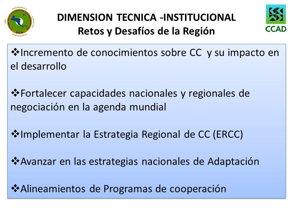 DIMENSION TECNICA -INSTITUCIONAL Retos y Desafíos de la Región