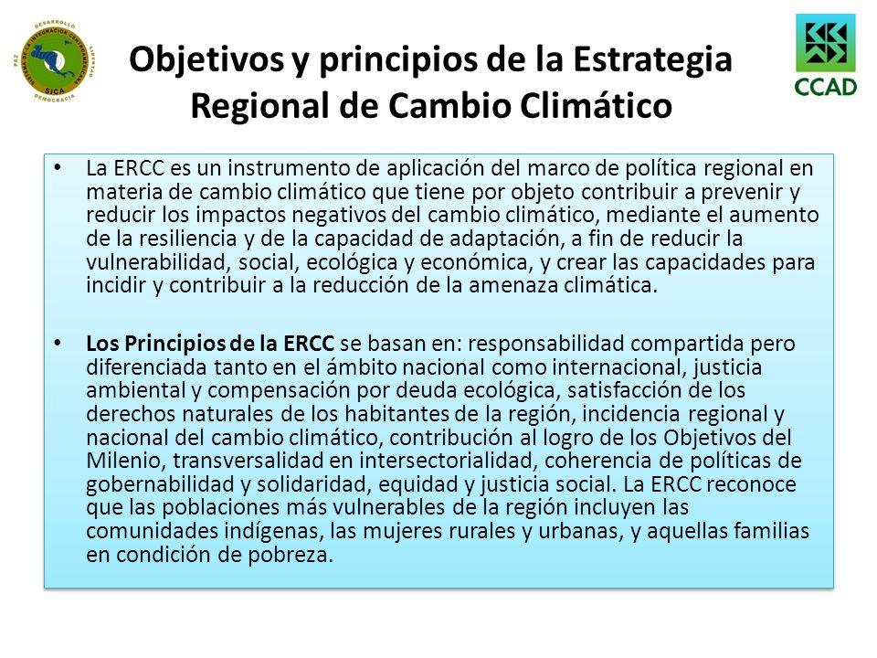 Objetivos y principios de la Estrategia Regional de Cambio Climático
