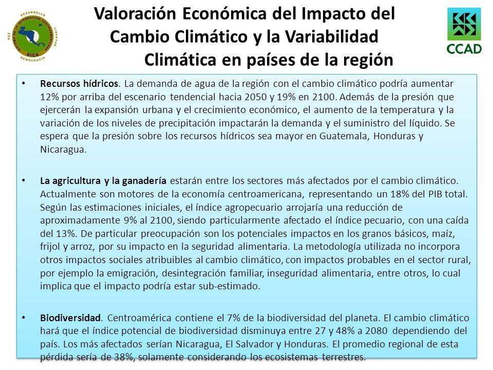 Valoración Económica del Impacto del Cambio Climático y la Variabilidad Climática en países de la región