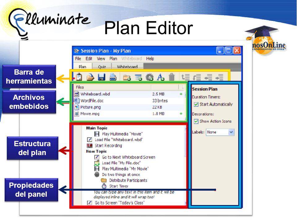 Plan Editor Barra de herramientas Archivos embebidos