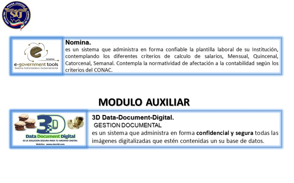 MODULO AUXILIAR Nomina. 3D Data-Document-Digital. GESTION DOCUMENTAL