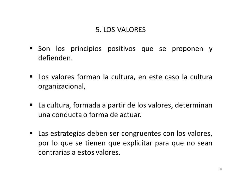 5. LOS VALORES Son los principios positivos que se proponen y defienden. Los valores forman la cultura, en este caso la cultura organizacional,