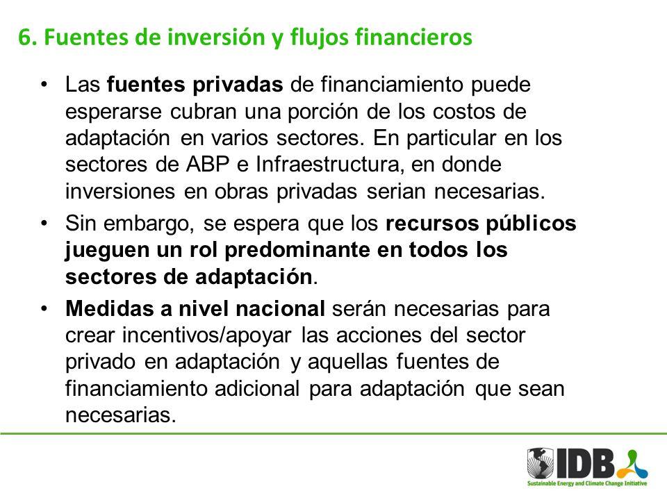 6. Fuentes de inversión y flujos financieros