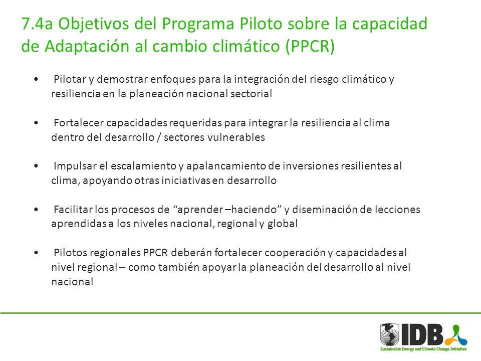 7.4a Objetivos del Programa Piloto sobre la capacidad de Adaptación al cambio climático (PPCR)