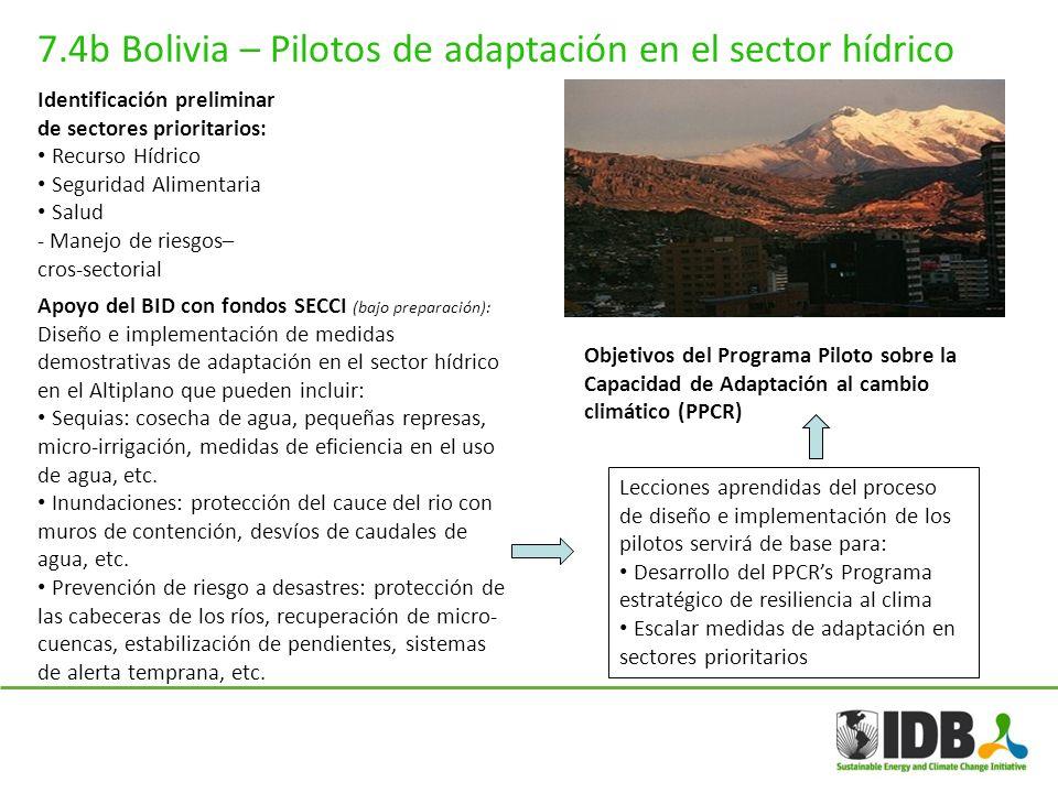7.4b Bolivia – Pilotos de adaptación en el sector hídrico