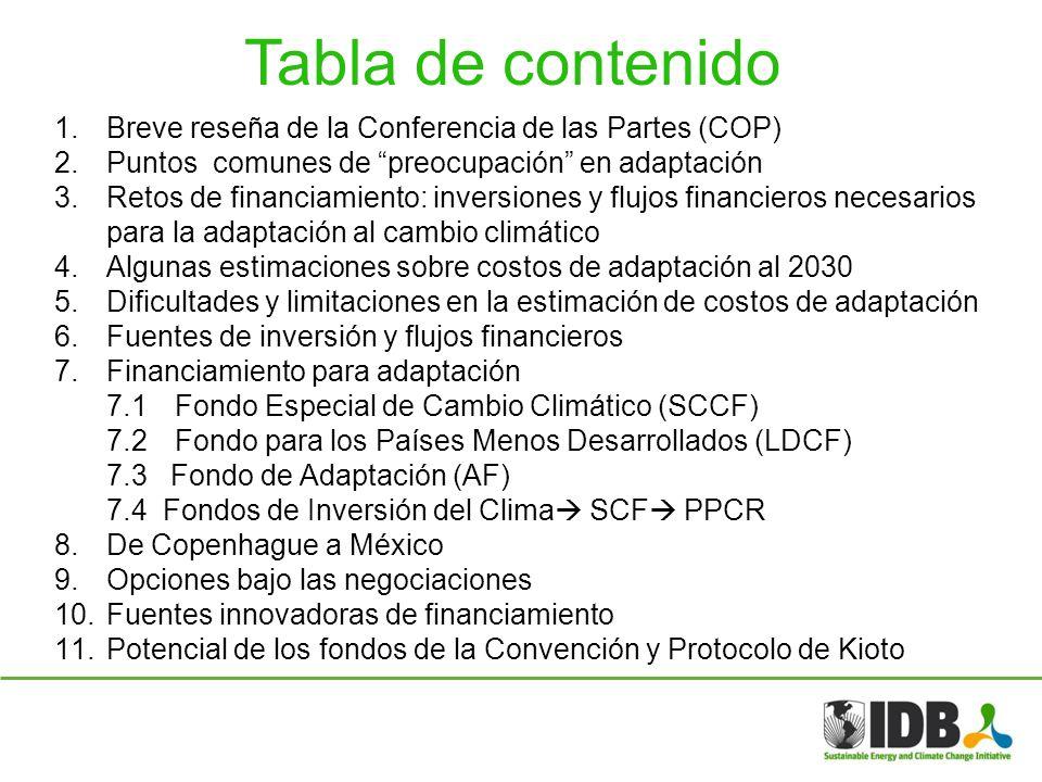 Tabla de contenido Breve reseña de la Conferencia de las Partes (COP)