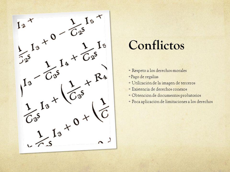 Conflictos + Respeto a los derechos morales +Pago de regalías