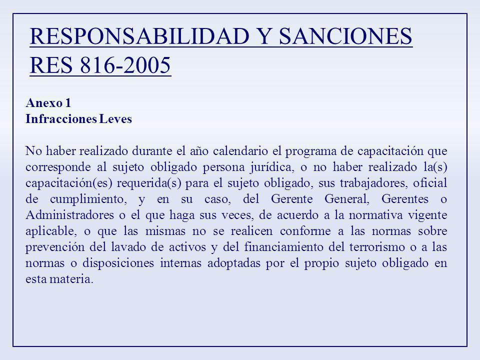 RESPONSABILIDAD Y SANCIONES RES 816-2005