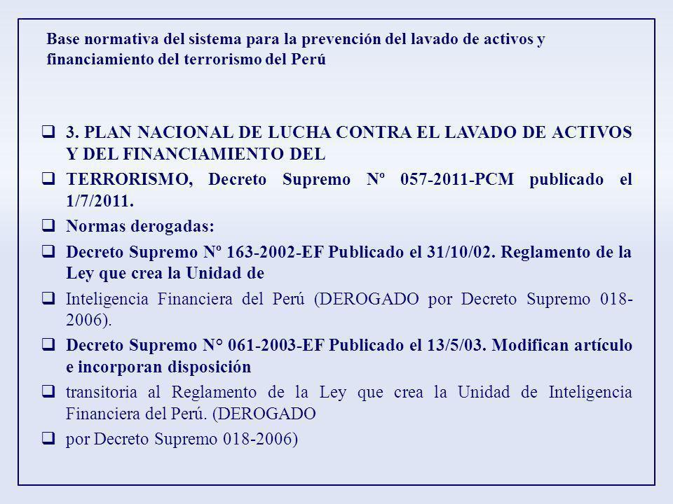 TERRORISMO, Decreto Supremo Nº 057-2011-PCM publicado el 1/7/2011.