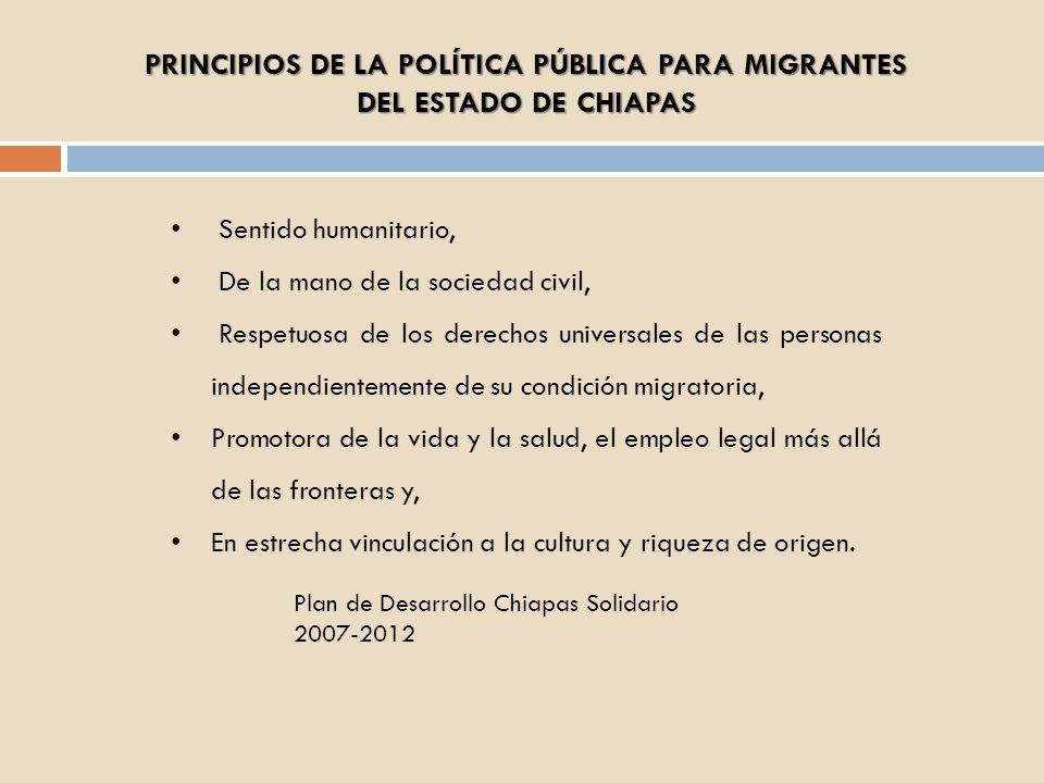 PRINCIPIOS DE LA POLÍTICA PÚBLICA PARA MIGRANTES