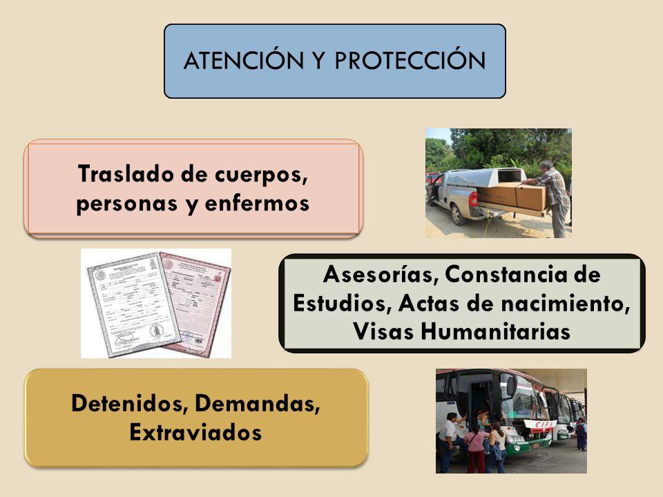 ATENCIÓN Y PROTECCIÓN Traslado de cuerpos, personas y enfermos