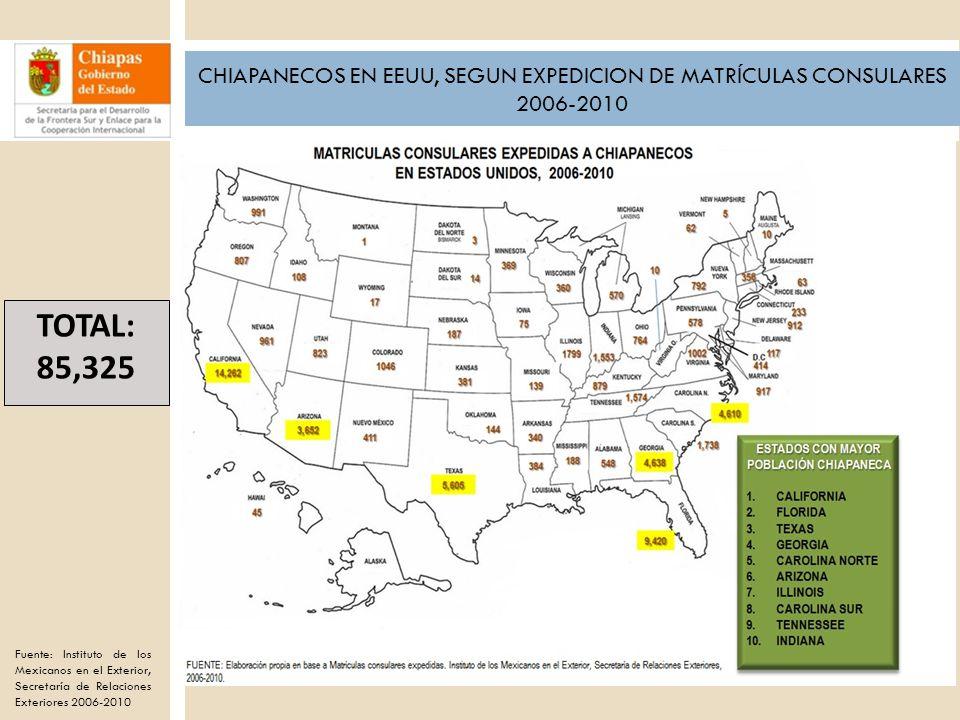 CHIAPANECOS EN EEUU, SEGUN EXPEDICION DE MATRÍCULAS CONSULARES 2006-2010