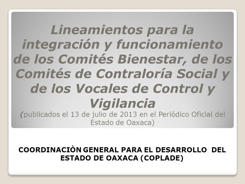 COORDINACIÒN GENERAL PARA EL DESARROLLO DEL ESTADO DE OAXACA (COPLADE)