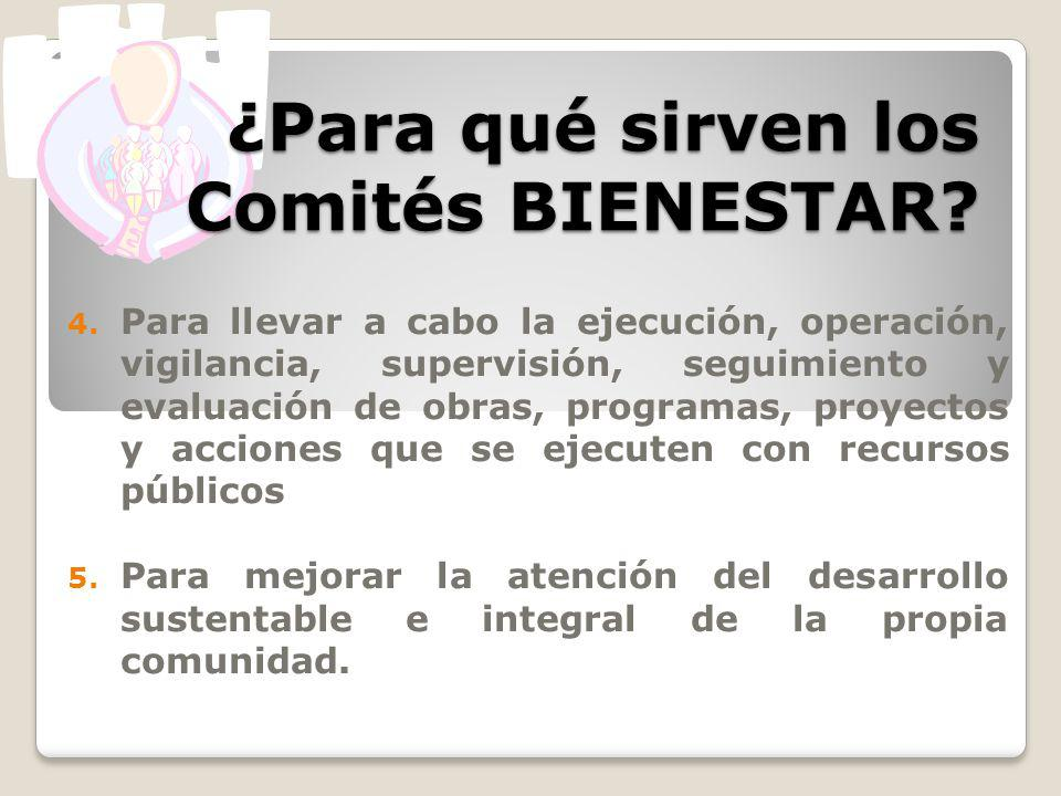 ¿Para qué sirven los Comités BIENESTAR