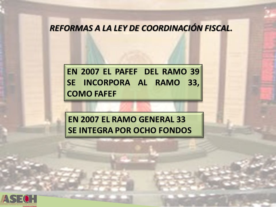 REFORMAS A LA LEY DE COORDINACIÓN FISCAL.