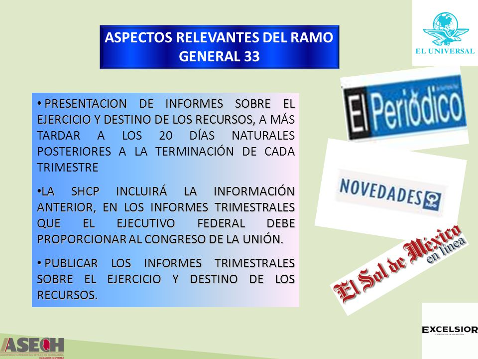 ASPECTOS RELEVANTES DEL RAMO GENERAL 33