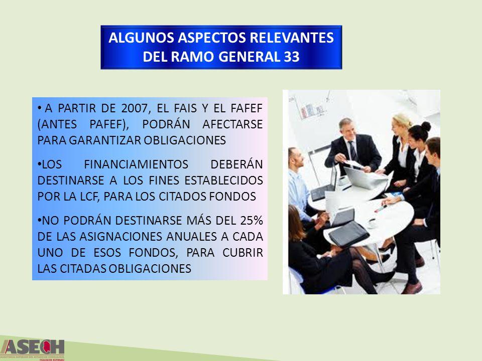 ALGUNOS ASPECTOS RELEVANTES DEL RAMO GENERAL 33