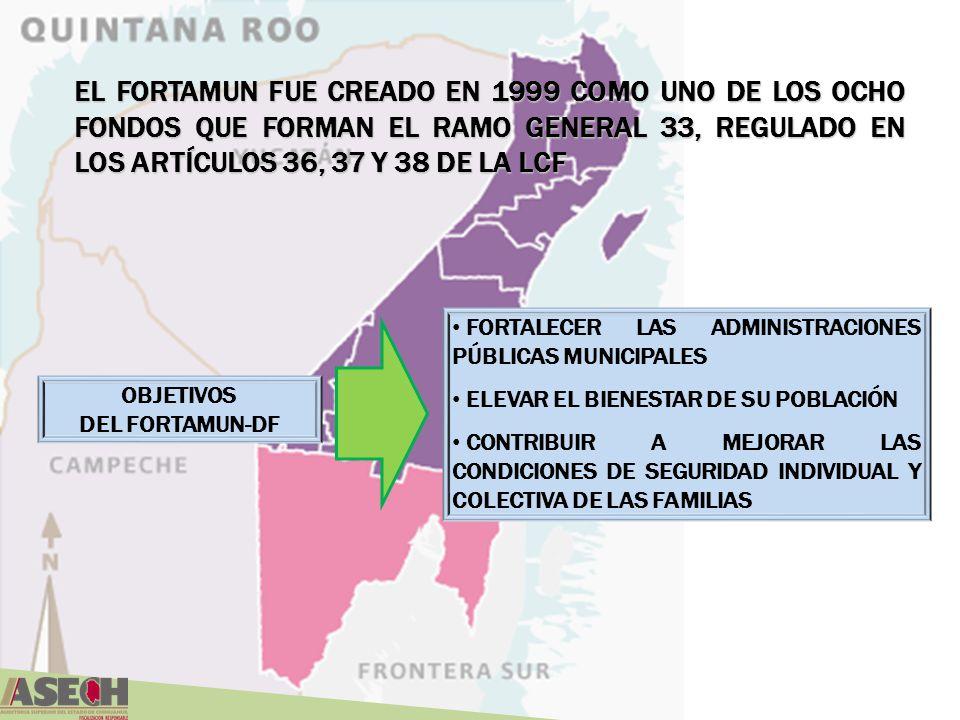 EL FORTAMUN FUE CREADO EN 1999 COMO UNO DE LOS OCHO FONDOS QUE FORMAN EL RAMO GENERAL 33, REGULADO EN LOS ARTÍCULOS 36, 37 Y 38 DE LA LCF