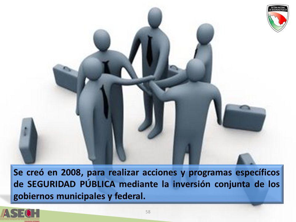 Se creó en 2008, para realizar acciones y programas específicos de SEGURIDAD PÚBLICA mediante la inversión conjunta de los gobiernos municipales y federal.