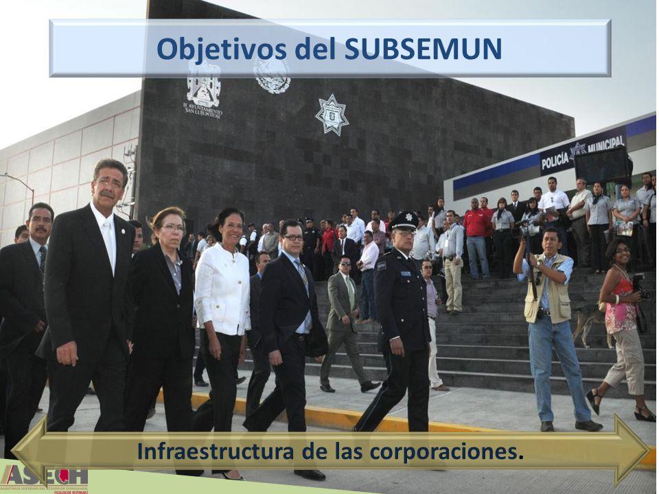 Objetivos del SUBSEMUN Infraestructura de las corporaciones.