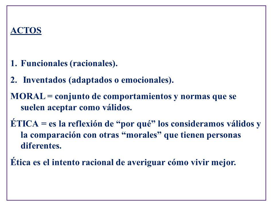 ACTOS Funcionales (racionales). Inventados (adaptados o emocionales).