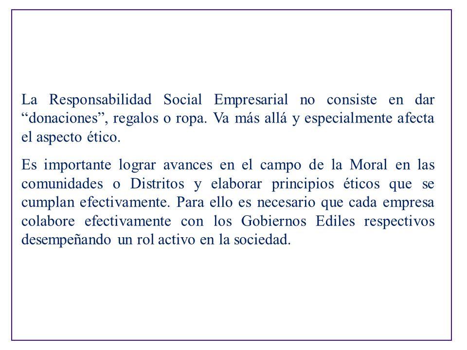 La Responsabilidad Social Empresarial no consiste en dar donaciones , regalos o ropa. Va más allá y especialmente afecta el aspecto ético.