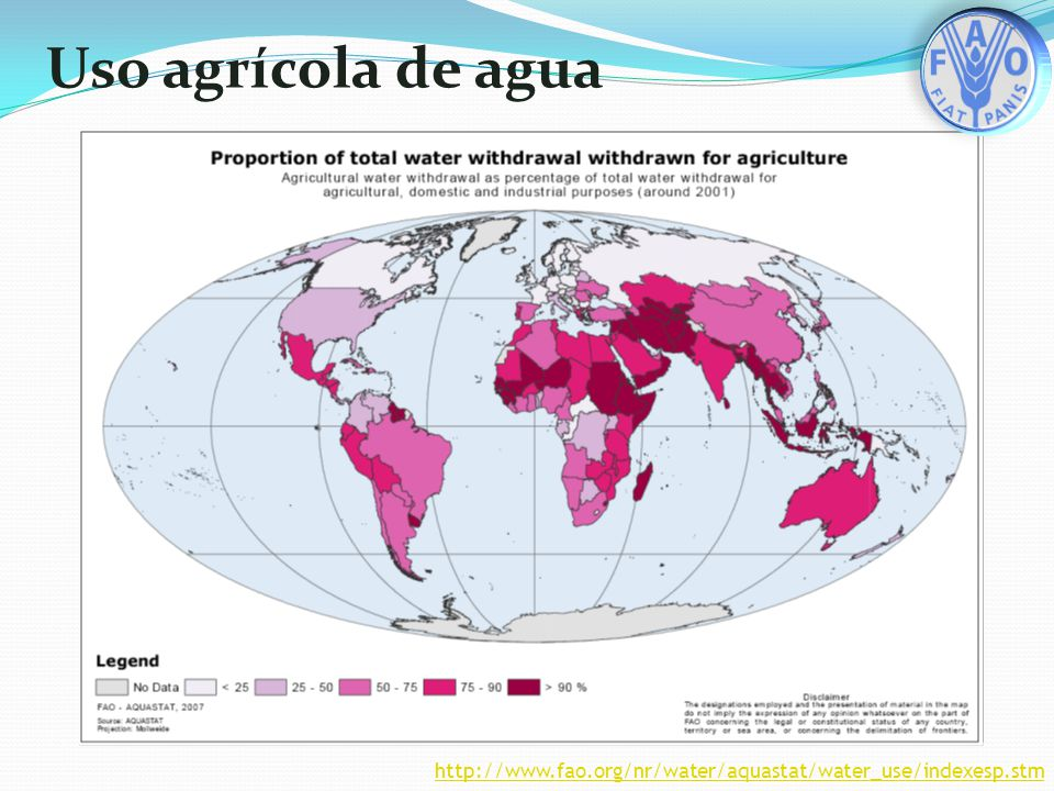 Uso agrícola de agua http://www.fao.org/nr/water/aquastat/water_use/indexesp.stm