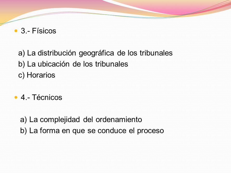 3.- Físicos a) La distribución geográfica de los tribunales. b) La ubicación de los tribunales. c) Horarios.