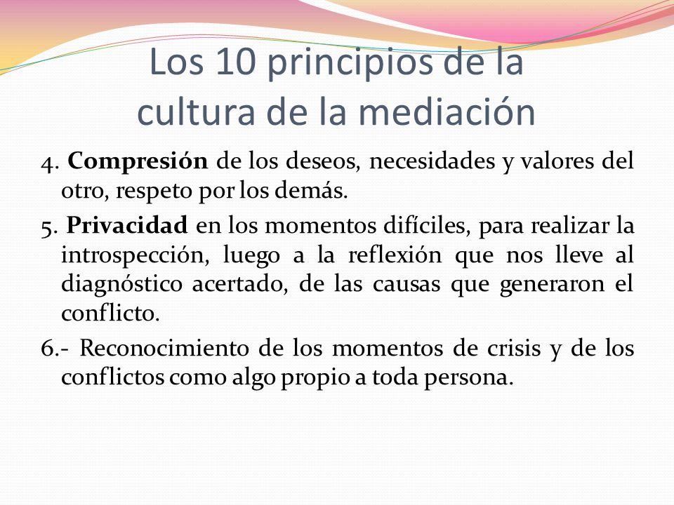 Los 10 principios de la cultura de la mediación