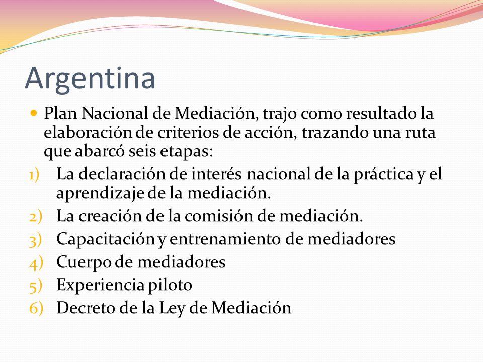 Argentina Plan Nacional de Mediación, trajo como resultado la elaboración de criterios de acción, trazando una ruta que abarcó seis etapas: