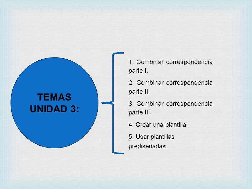 TEMAS UNIDAD 3: 1. Combinar correspondencia parte I.