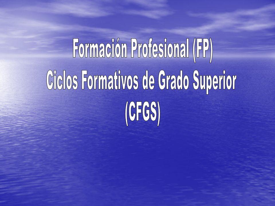 Formación Profesional (FP) Ciclos Formativos de Grado Superior (CFGS)