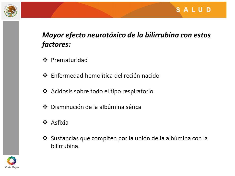 Mayor efecto neurotóxico de la bilirrubina con estos factores: