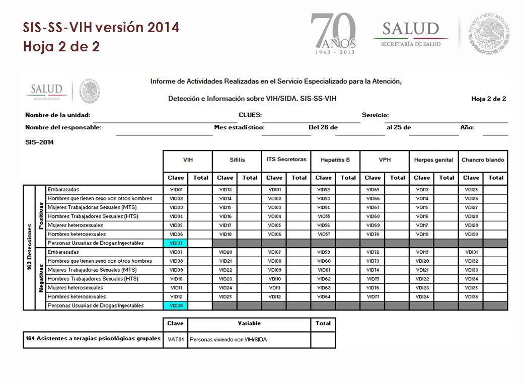 SIS-SS-VIH versión 2014 Hoja 2 de 2