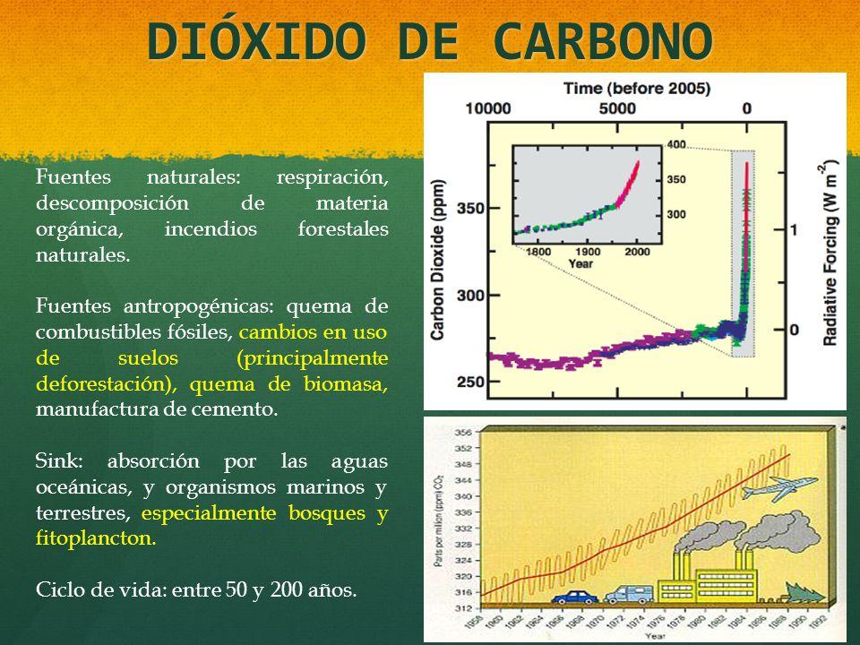 DIÓXIDO DE CARBONO Fuentes naturales: respiración, descomposición de materia orgánica, incendios forestales naturales.