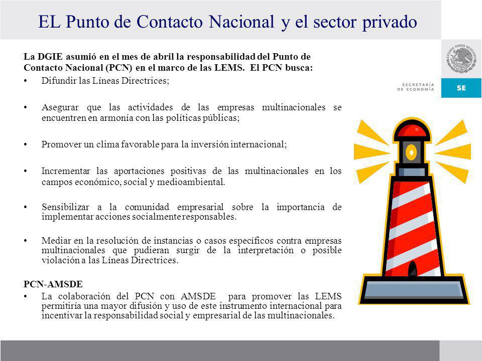 EL Punto de Contacto Nacional y el sector privado