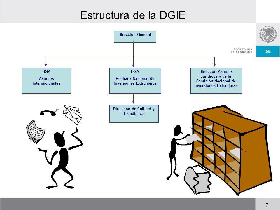 Estructura de la DGIE 7 Dirección General DGA Asuntos Internacionales