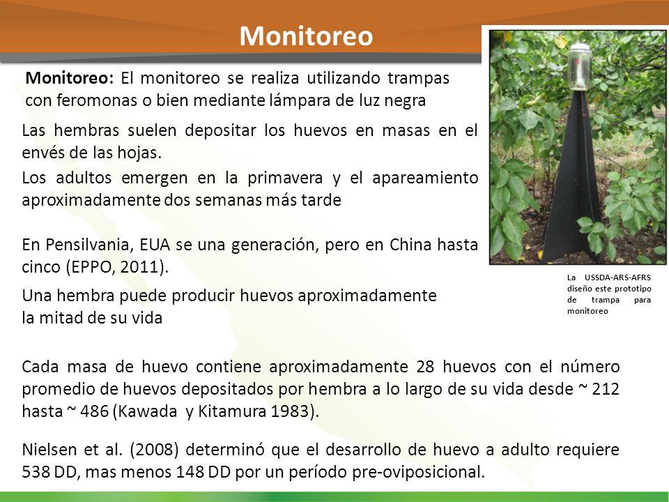 Monitoreo Monitoreo: El monitoreo se realiza utilizando trampas con feromonas o bien mediante lámpara de luz negra.