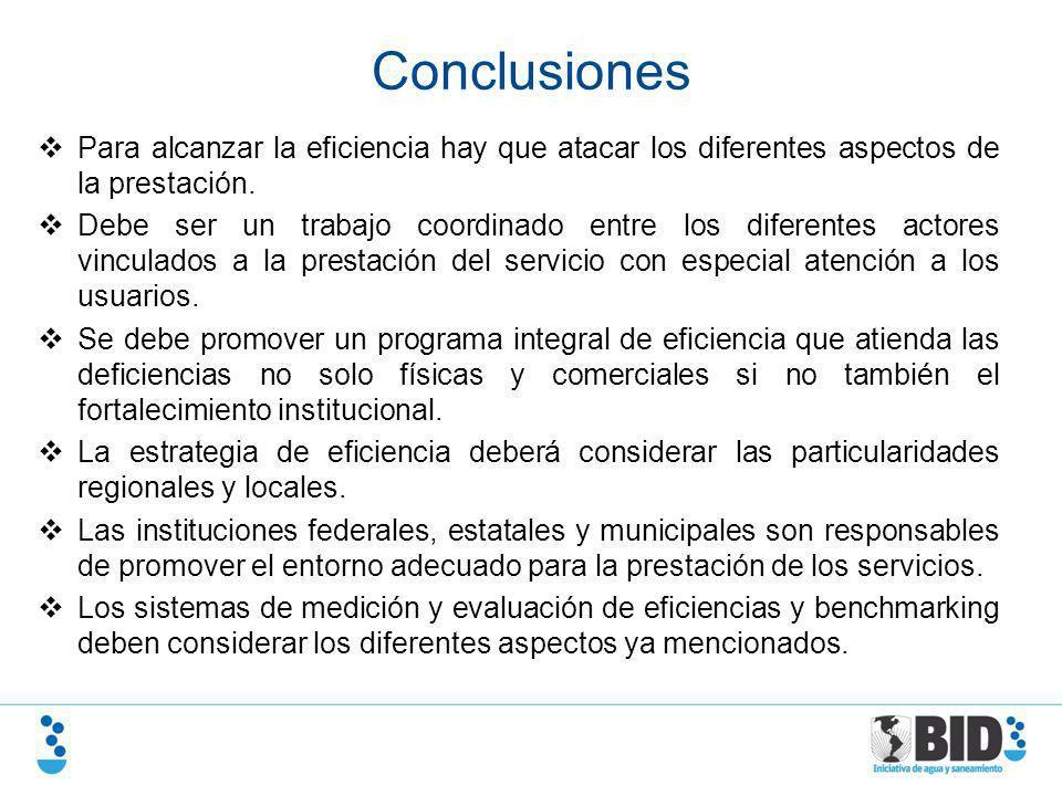 Conclusiones Para alcanzar la eficiencia hay que atacar los diferentes aspectos de la prestación.