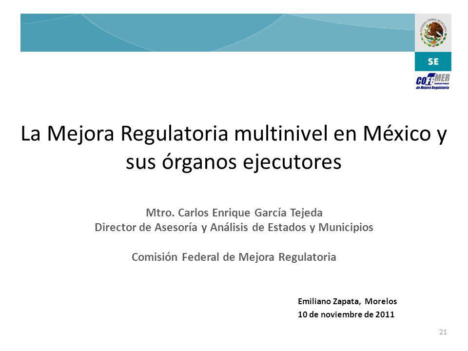 La Mejora Regulatoria multinivel en México y sus órganos ejecutores