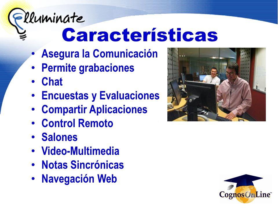 Características Asegura la Comunicación Permite grabaciones Chat