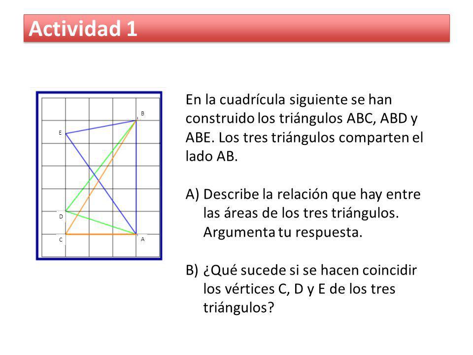 Actividad 1 En la cuadrícula siguiente se han construido los triángulos ABC, ABD y ABE. Los tres triángulos comparten el lado AB.